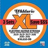 D'Addario / ダダリオ EXL110/3D エレキギター弦 Regular Lightゲージ 3セットパック