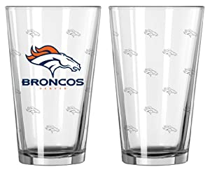 Denver Broncos Satin Etch Pint Glass Set by Caseys