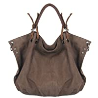 CLELO B406 Women's Vintage Hobo Canvas Genuine Leather Tote Handbag Shoulder Bag