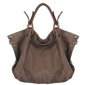 CLELO B406 Women's Vintage Hobo Canvas Genuine Leather Tote Handbag Shoulder Bag