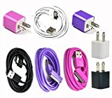 Bluecell Black/white/purple/hot pink AC US Wall Charger + 6 ft feet USB Sync Data Cable for Iphone 4/4S/3g/3gs Ipod