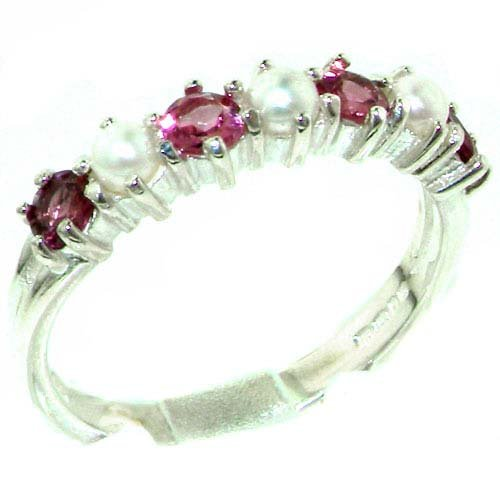 Luxurious Solid Sterling Silver Natural Pink Tourmaline & Pearl Ladies Eternity Ring - Size 11.25 - Finger Sizes 4 to 12 Available - Suitable as an Anniversary ring, Engagement ring, Eternity ring, or Promise ring