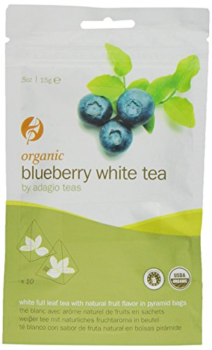 Adagio Tea Organic Blueberry White, 10-Count Sachets (Pack Of 3)