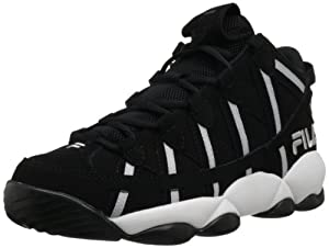Fila Men's Spaghetti Basketball Shoe,Black/White/Metallic Silver,9 M US