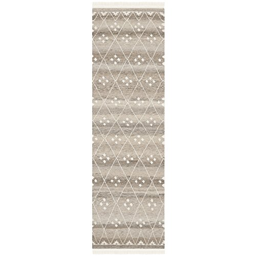 Safavieh Natural Kilim Collection NKM316B Hand Woven Natural and Ivory Wool Runner, 2 feet 3 inches by 6 feet (2'3