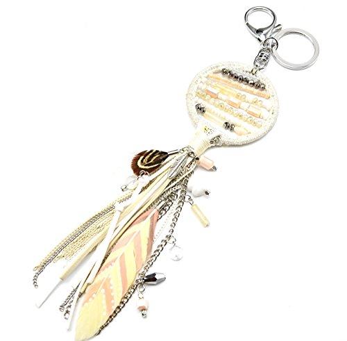 PT1026D-Porta-chiavi, gioiello da borsetta Acchiappa-sogni Dreamcatcher bordo lucido con perle, con frange, in feltro e piume, modo fantasia etnica, colore: ecru