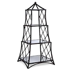 "34"" Elegant Bellisimo Diamond Pattern Mirrored Table Top Etagere"