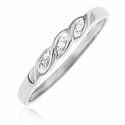 Ornami Glamour 9ct White Gold Diamond Set Twist Ring