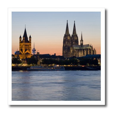 3Drose Ht_81778_3 Cologne Skyline, Rhine, Gross St Marin, Dom, Germany David Barnes Iron On Heat Transfer, 10 By 10-Inch