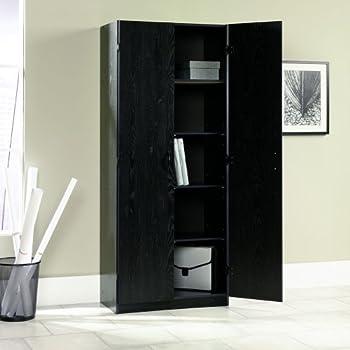 Sauder 410814 Storage Cabinet, Ebony Ash Finish