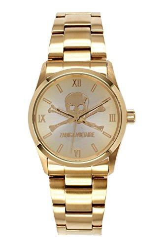 Zadig & Voltaire  - Reloj de cuarzo unisex, correa de acero inoxidable color dorado