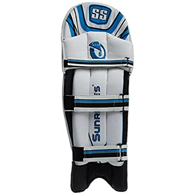 SS Platino Men's RH Batting Legguard (White/Blue)