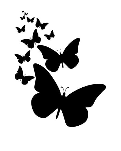Ambiance Live Wall Decal wolk van vlinders muren zwart