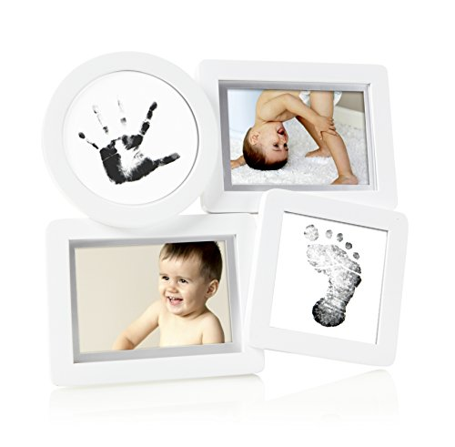 Pearhead Baby Prints Collage Frame with Clean Touch Ink Pad Included, White - 1