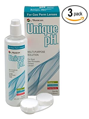 Menicon Unique pH Multi-Purpose Solution + RGP Lens Case. THREE 4 fl oz (120ml) bottles