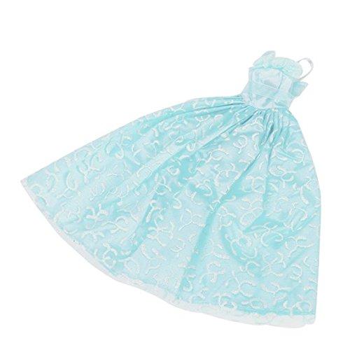 Vestido-Traje-de-Novia-Princesa-Accesorio-para-Muecas-de-Barbie-Azul-Claro