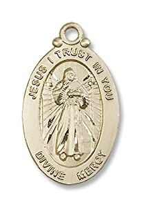14kt Gold Divine Mercy Medal