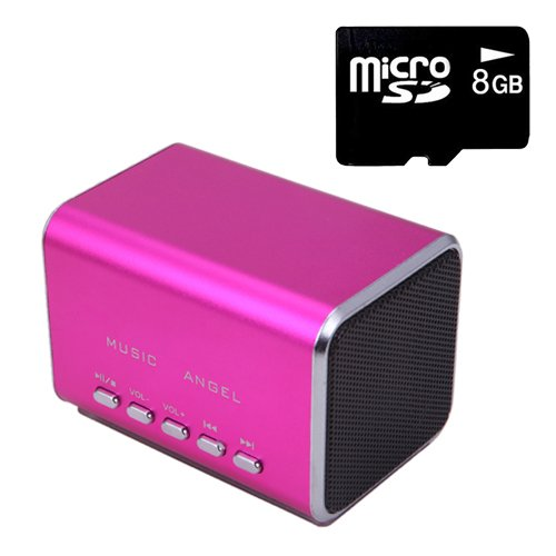 Hde Music Angel Portable Party Mini Speaker 150 Hz - 18000 Hz W/ Mini Sd Card (Hot Pink)