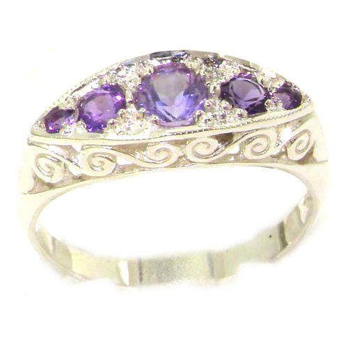 Carved Solid English Sterling Silver Natural Amethyst Ring - Size 12 - Finger Sizes 5 to 12 Available - Suitable as an Anniversary ring, Engagement ring, Eternity ring, or Promise ring