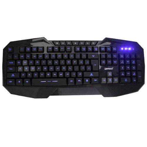 Agptek® 3-Level Blue Led Illuminated Ergonomic Backlit Usb Wired Gaming Keyboard - 7 Multimedia Shortcut Keys, 5Ft Cable Length