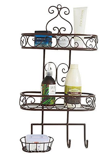 Dazone 3 Tiers Wall Mounted Bthroom Rack Metal Bathroom Storage Rack Shelf Organizer with Hooks (Bronze) (Bronze Bathroom Storage compare prices)