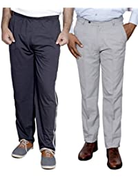 Indistar Mens Formal Trousers With Men's Premium Cotton Lower (Length Size -38) With 1 Zipper Pocket And 1 Open Pocket (Pack Of -1 Lower With 1 Trouser) - B01GEIPB96