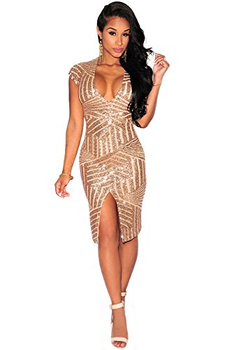 Kearia-Women-Short-Sleeve-Deep-V-Neck-Sequin-Split-Bodycon-Cocktail-Party-Dress
