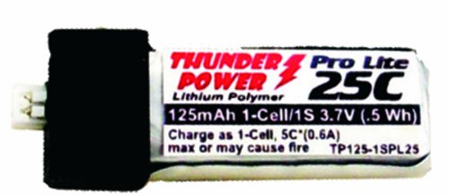 Thunder Power RC 125mAh 1-Cell/1S 3.7V G6 Pro Lite 25C LiPo Battery with Ultra-Micro Connector - 1