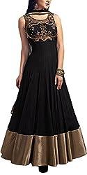 Angel Fashion Studio Women's Net Unstitched Dress Material (Black)