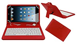 ACM PREMIUM USB KEYBOARD TABLET CASE HOLDER COVER FOR APPLE IPAD MINI With Free MICRO USB OTG RED