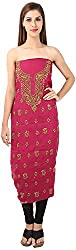 DESINER CLOTHLINE Women's Chanderi Unstitched Dress Material (Cl-15, Yellow And Red)