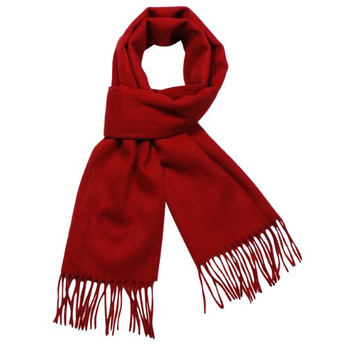 100% Wool Winter Classic Solid Color Tassels Ends Long Scarf - Various Colors