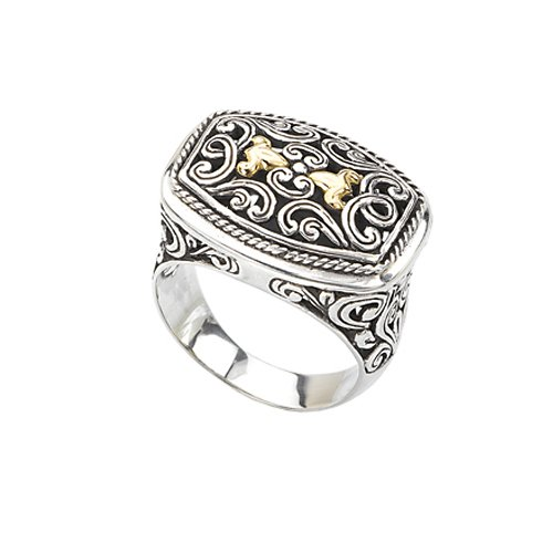 18K Yellow Gold and Sterling Silver Filigree Design Ring, Size 7