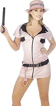 AxTokyo Womens Ladies Sexy Hen Do Mini Outfit Pink Police Fancy Dress Costume