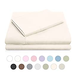 MALOUF Double Brushed Microfiber Super Soft Luxury Bed Sheet Set - Wrinkle Resistant - RV/Short Queen Size - Ivory