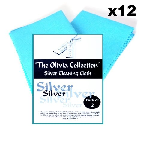 TOC 2x Silver Jewellery Cleaning & Polishing Cloth, 220mm x 315mm - Pack of 12