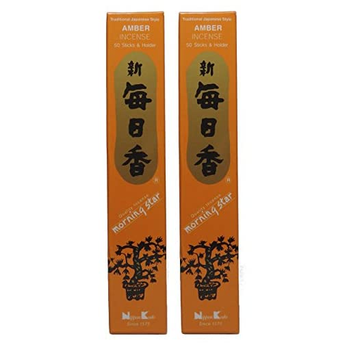 TRIMONTIUM-189-Nippon-Kodo-Morning-Star-japanische-Rucherstbchen-Duopack-2-x-50-Stck-Amber-Bernsteinharz