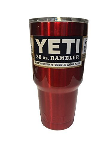 YETI Rambler Cup Custom Colors, 30 oz, Stainless Steel Tumbler, Travel Mug, Powder Coated (Intense Red)