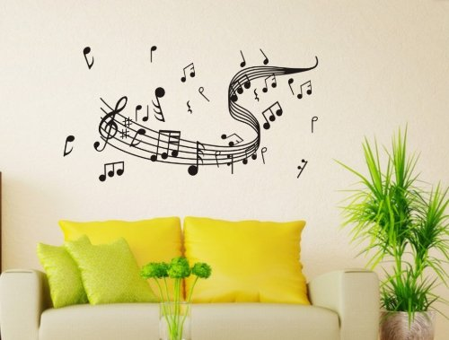 Createforlife Home Decor Mural Vinyl Wall Sticker Black Wonderful Music Note Stave Kids Nursery Room Wall Art Decal Paper back-6163