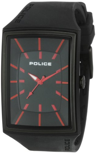 Police Men's Vantage X Watch 13077Mpbb/02 with Black Pu Strap, Black Dial and Red Batons