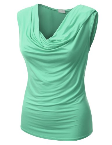 J.Tomson Womens Stylish Long And Short Sleeve Blouse With Draping Neckline Mint Large