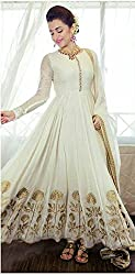 Adorn Mania White Georgette Embroidered salwar Suits Dress Material