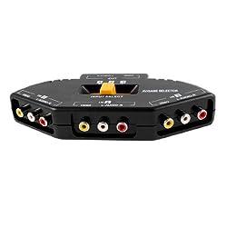 3-Way Audio Video AV RCA Switch Selector Box Splitter w 3 RCA Cable