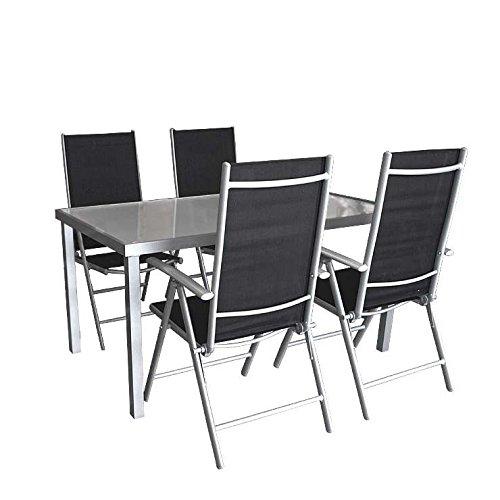 5tlg. Gartengarnitur Alu Glastisch 150x90cm Silber/Satiniert + 4x Hochlehner 7 Positionen verstellbar klappbar Gartenmöbel Terrassenmöbel Sitzgruppe Sitzgarnitur
