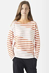Long Sleeve Diagonal Stripe Crewneck Sweater