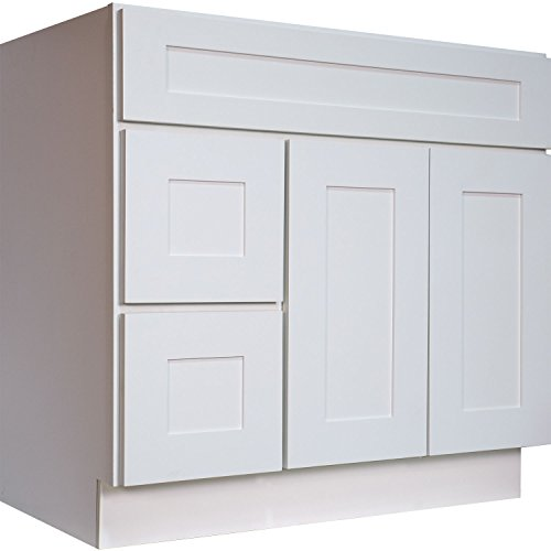 Everyday Cabinets 36 Inch Bathroom Vanity Single Sink Cabinet in Shaker White with Soft Close Drawers & Doors 36