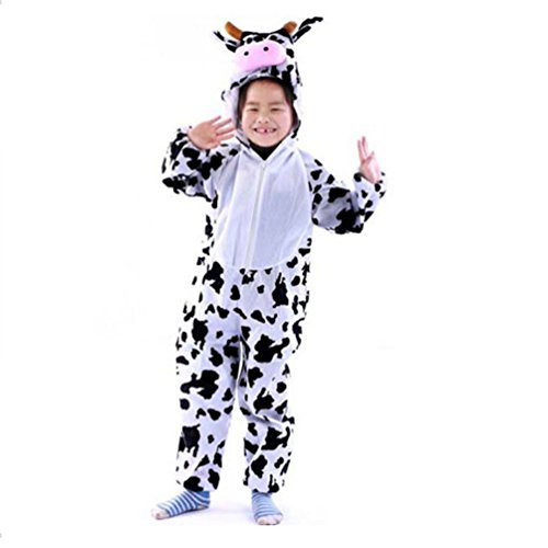 Lovely Kids Unisex Children Animal Pajamas Anime Cosplay Costume Cow