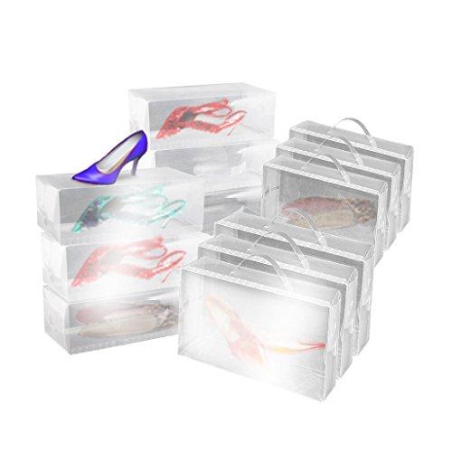 10 x cajas plegables de zapatos de mujer apilables de - Cajas transparentes para zapatos ...