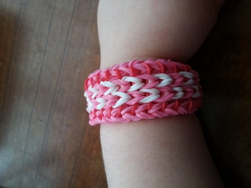 Rainbow Loom Sailor'S Pinstripe Friendship Bracelet - Pink With White And Pink Center And Red Connector Bands - Reversible. Great Gift For Valentine'S Day. Bonus - Ty Beanie Baby Teddy Bear With Each Valentine'S Bracelet Ordered! front-665559