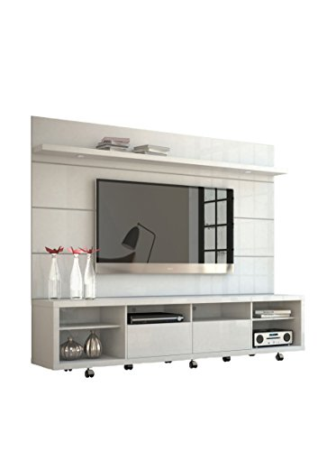 cabrini tv stand and floating wall tv panel with led lights 2 2 in white gloss ebay. Black Bedroom Furniture Sets. Home Design Ideas